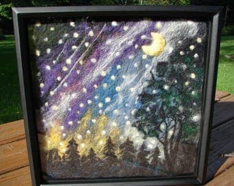 Needle Felted Painting, Wool Painting, Needle Felted Picture, Felted Picture, Wool Picture, Needle Felted Painting, Stars, Moon