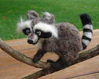 Needle Felted Raccoon, Felted Raccoon, Wool Raccoon, Soft Sculpture, Raccoon, Needle Felted Wool Raccoon, Needle Felted Animal, Animal