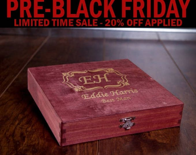 Personalized Cigar Box, Groomsman Gift Box, Gift for Man, Engraved Wood Box, Wedding Bridal Gift, Best Man Gift