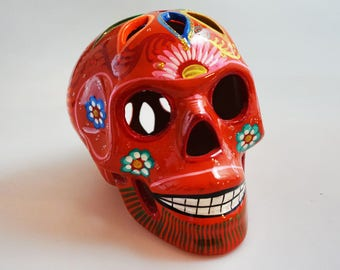 Handpainted Mexican Day of the Death Sugar Skull | Orange