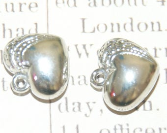 2 silver acrylic 17, puffed heart charms 5x19mm