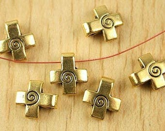 3 4, 12 x 11 gold tone cross charms, 2mm