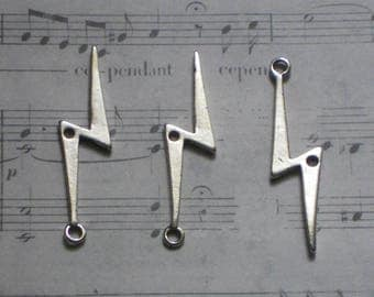 3 Silver lightning bolt charms