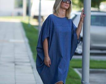 Denim Dress, Linen Dress, Women Dress, Balloon Dress, Knee Length Dress, Minimalist Dress, Plus Size Clothing, Midi Dress, Fashion Dress