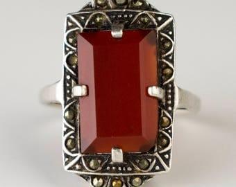 Vintage Red Marcasite Stone Ring Jasper Gemstone Emerald Cut Prong Set Statement Jewelry Size 7