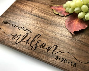 Engraved Cutting Board, Tree Personalized Wedding Gift, Custom Anniversary Housewarming or Bridal Shower Gift, Kitchen Decor, Chopping Block