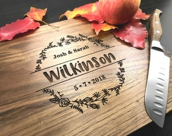 Monogram Cutting Board, Custom Wedding Gift, Engraved Wood Cutting Board, Personalized Wedding Gift, Anniversary Gift, Housewarming Gift