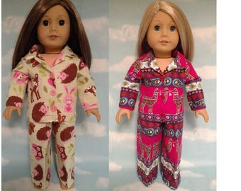 18 inch Girl Doll Clothing, handmade to fit like American Girl Doll clothes, (Pajamas choose green or red) pj-402cab