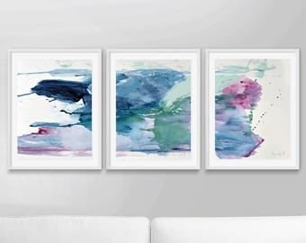 Abstract Art Print Set, Set of 3 Prints, Abstract Painting, Printable Abstract, instant download, Pink and blue art, 12x16 Prints, Wall art