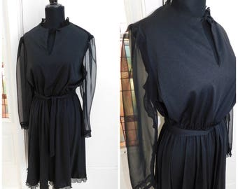 Vintage 1970s  Black Polyester or Nylon Dress with Sheer Sleeves