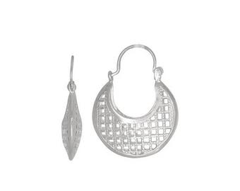 ON SALE Sterling Silver .925 Grid Design, Cut Out Squares Basket Earring (S) | Made in Usa