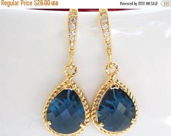 SALE Wedding Jewelry, Navy Blue Earrings, Dark Blue, Blue, Gold, Montana Blue, Cubic Zirconia, Bridesmaid Jewelry, Bridesmaid Earrings, Dang