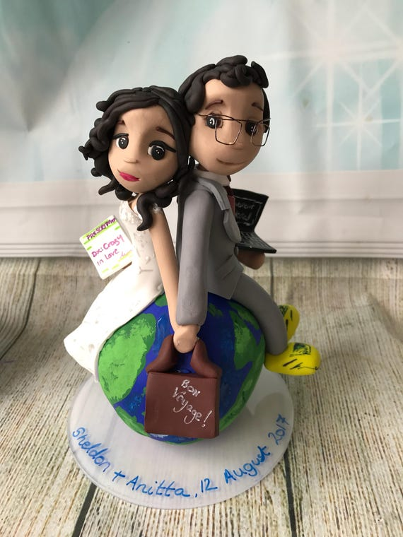 Fully personalised travel themed couple clay Wedding Cake Topper highly detailed and fully sculpted Keepsake - Bespoke Premium Service