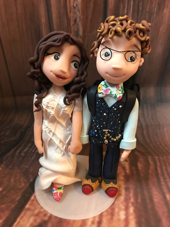 Fully personalised bride and groom/ same sex wedding Cake Topper highly detailed and fully sculpted Keepsake -hiking/walking/backpacking