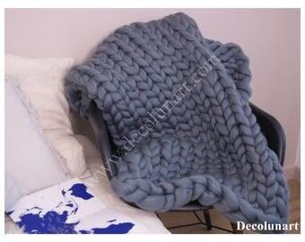Plaid en laine super géante mérinos  XXL grise