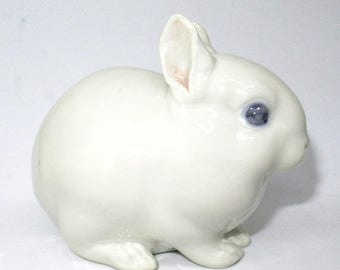 ON SALE - Will Ship 7/10 Vintage ROYAL Copenhagen White Bunny Rabbit 4705 Ceramic Easter Figurine Porcelain Denmark Hand Painted Blue Eyes P