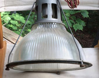 Vintage Holophane pendant light fixture with No 6585 shade