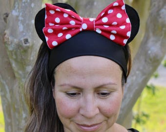 Minnie Mouse running headband 3 inches wide performance fabric
