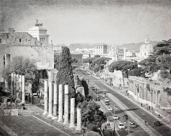 Rome Photography, Black and White, City View, Rome Print, Travel Decor, Italy, Europe, Wall Art, Rome Italy