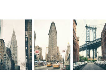 SALE, New York Wall Art Print Set, New York Photography, Set Of 3