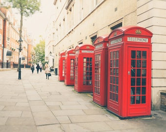 Red Phone Box, London Photography, Red Phone Booth, London Print, Travel Decor, Wall Art, Home Decor, Black and White, or Color