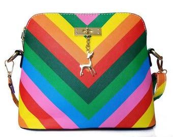 Bold Tone Multi Colored Bucket Bag Purse