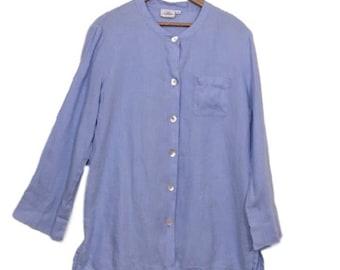 HOT COTTON linen powder blue  shirt