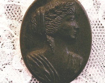 Vintage Black Grecian Lady on Black Background Glass Cameo Mourning Brooch