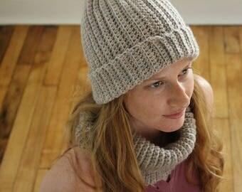 PATTERN - Faux knit hat and neck warmer pattern - Crochet ribbed hat pattern - Crochet neck warmer pattern - Crochet beanie pattern - pdf