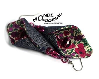 Arum calla liberty fabric and denim Flower Earrings