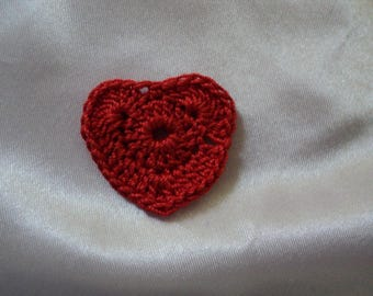 SET of 8 CROCHET for booking 3 cm hearts: Red