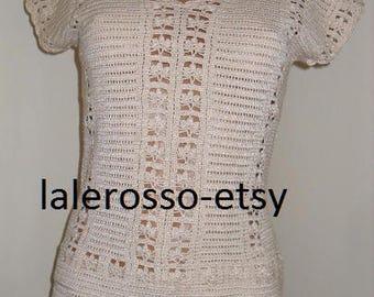 Two-piece suit, 100% cotton hook, 36-40 EU, 8-10 USA