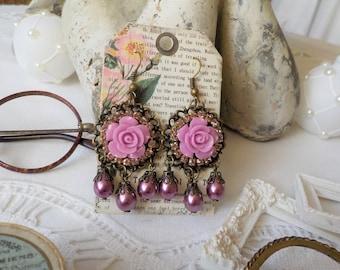 Victorian flowers and drop earrings Pearl Amethyst