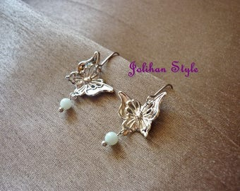 """Silver flight"" earrings with amazonite"
