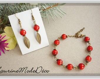 "Set ""Apple of love"". Bracelet and earrings"