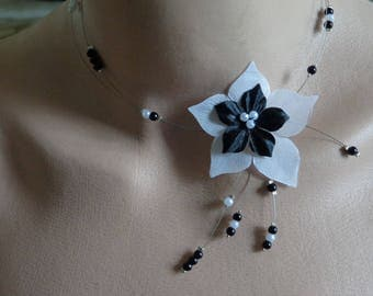 black and white wedding silk flower wedding necklace Bridal