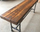 The Foundry Bench Reclaimed Wood Beam Rustic Bench Farmhouse Bench Dining Table Bench Wood and Pipe Bench