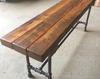 The Foundry Bench Reclaimed Wood Beam Rustic Bench Farmhouse Bench Dining  Table Bench Wood And Pipe