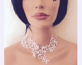 Wedding white tattoo necklace * 3 lace *.