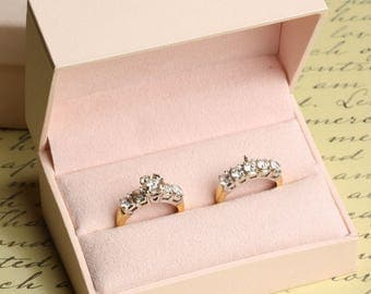 Double Engagement Wedding Ring Band Presentation Gift Box, Pastel Baby Pink