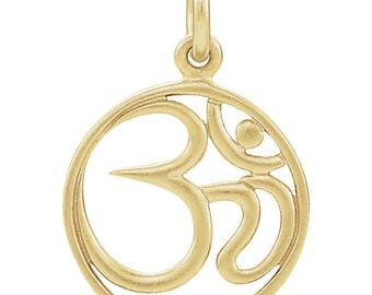 24K Gold Over Sterling Silver Circular OM Charm Pendant for Your Own Charm Bracelet or Necklace