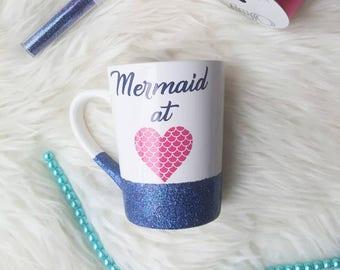Mermaid at heart mug/mermaid at heart/mermaid mug/mermaid cup/glitter cups/glitter mug//mermaid glitter mug/mermaid coffee mug/mermaid love