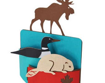Canada Card , 3D , Beaver , Goose , Moose , Maple Leaf , PaperCut , Canadian