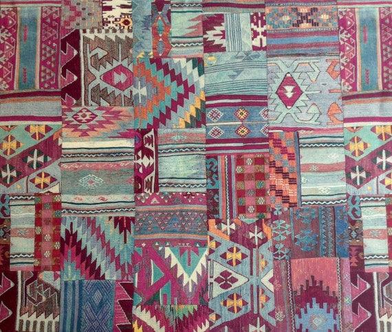 tissu dameublement kilim patchwork design tissu ethnique. Black Bedroom Furniture Sets. Home Design Ideas