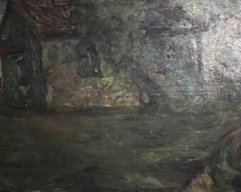 1966 Large Impressionist landscape oil painting signed