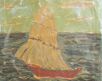1967 European fauvist art oil painting seascape sailboat signed