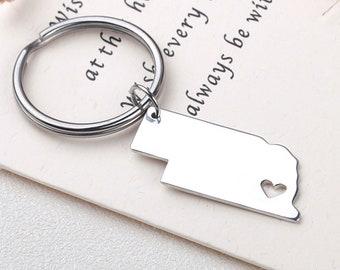 I heart Nebraska keychain - Nebraska keyring - State Charm - Map Jewelry - Map keychain