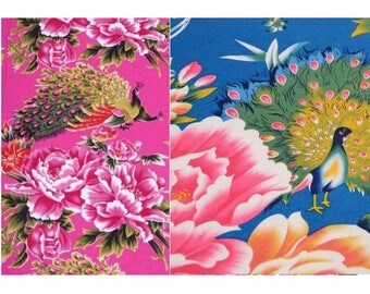 cotton fabric Chinese clothing poan Peony Rose Blue 2 m
