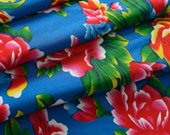 blue fabric Peony Chinese traditional furniture 5 m