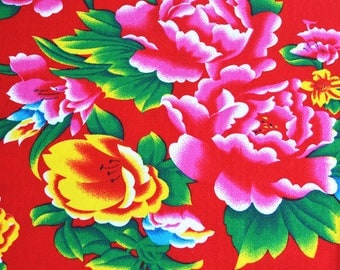 Fabric Chinese furniture traditional Peony Red 5 m